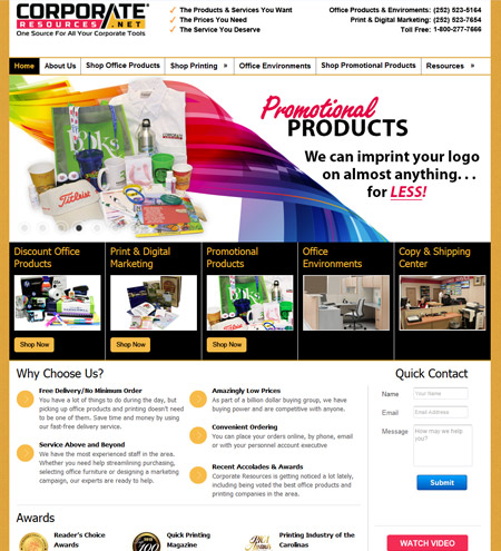 Custom printing storefront home page