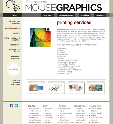 MouseGraphics Printing Services Page