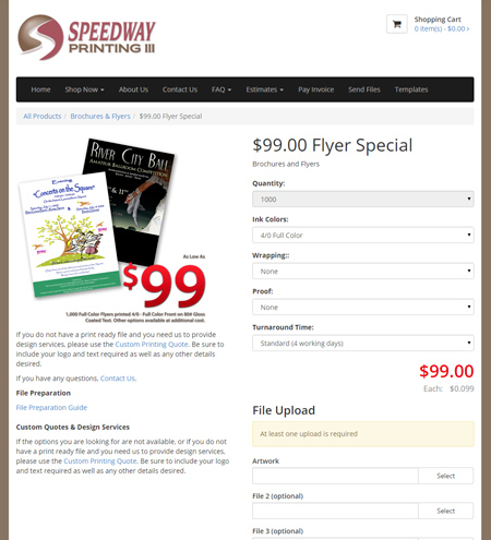 Custom printing storefront 99 dollar special page