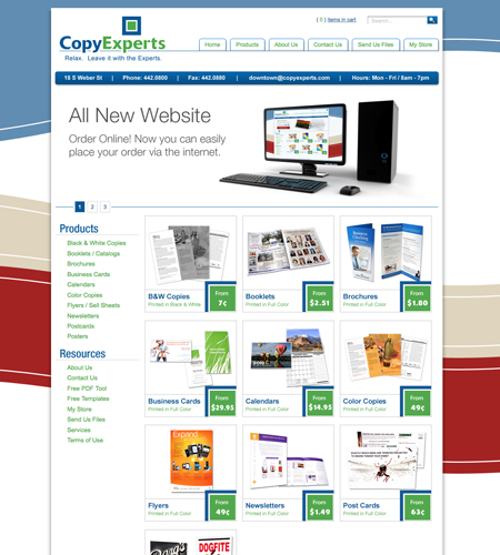 Custom printing storefront contact page